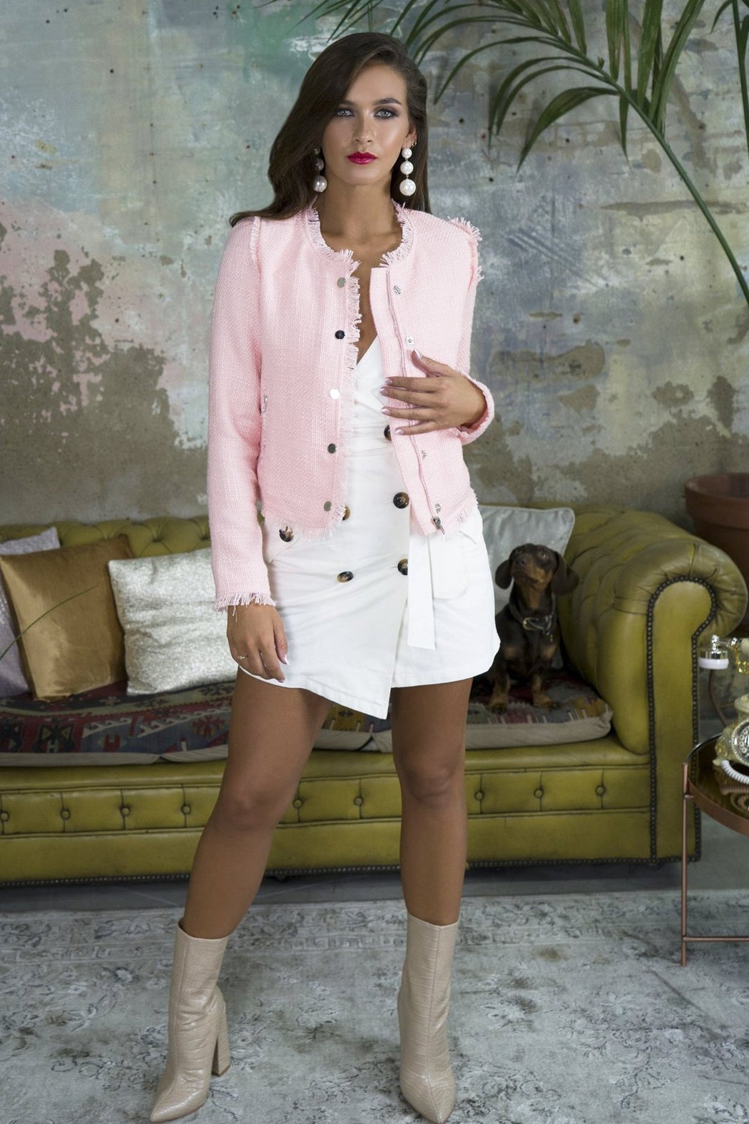 Khloe Pink Tweed Jacket