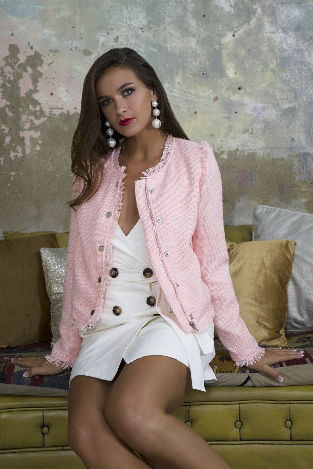 Khloe Pink Tweed Jacket - Lavand Stories