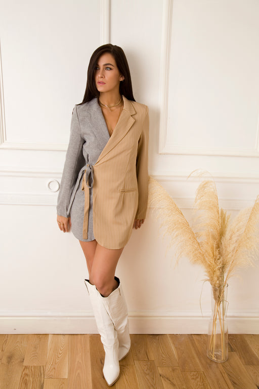 Two Faced Cream  Blazer Dress