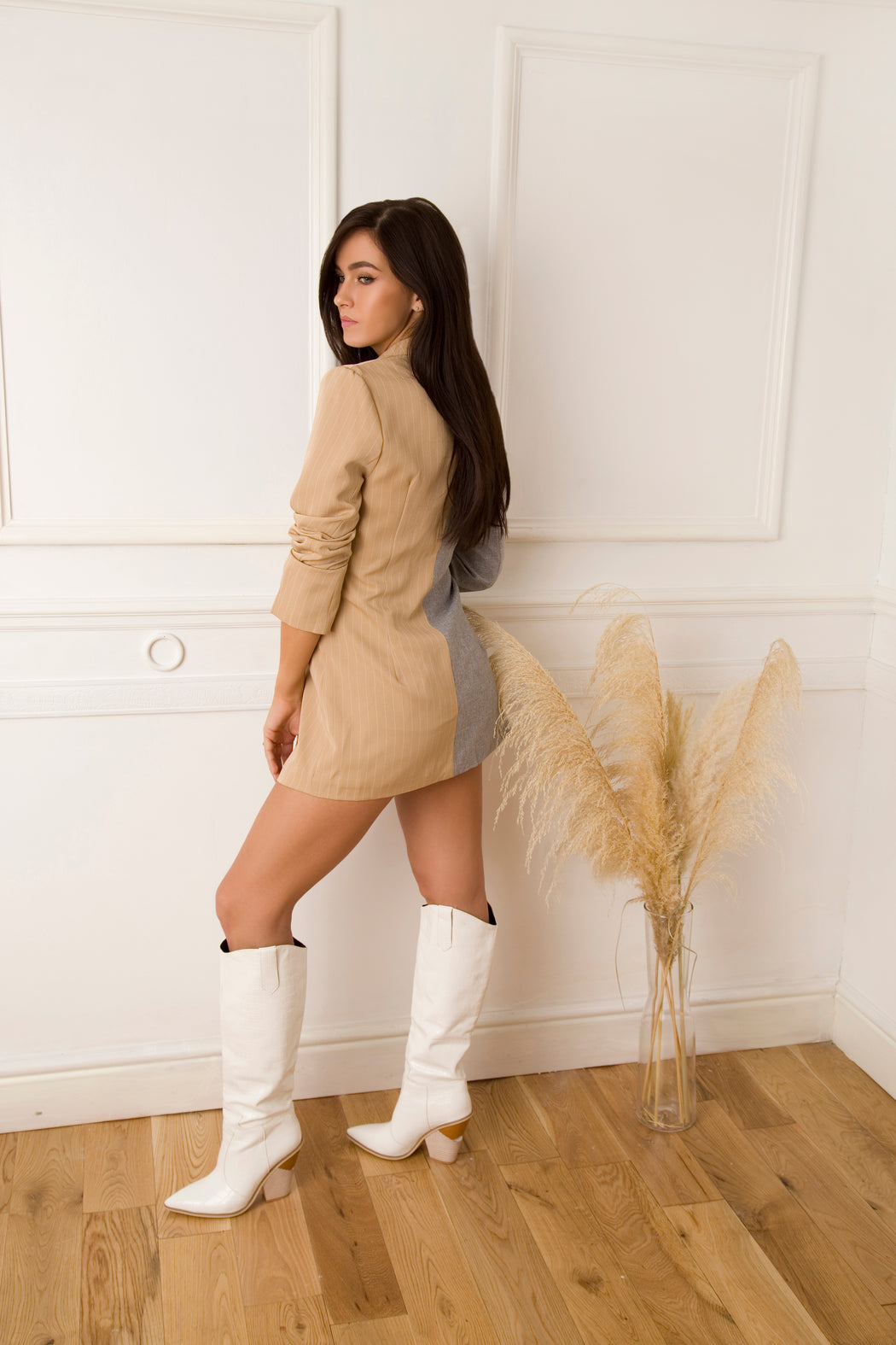 White Western Knee High Boots