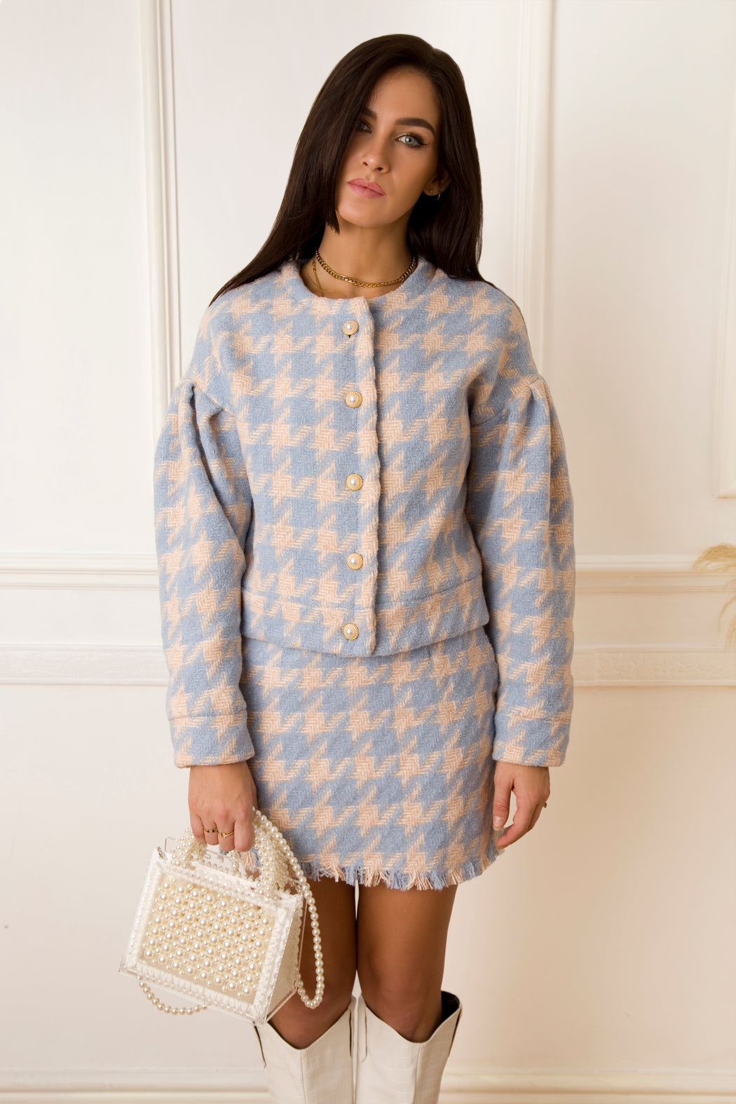 Cher Houndstooth Blue Jacket - Lavand Stories