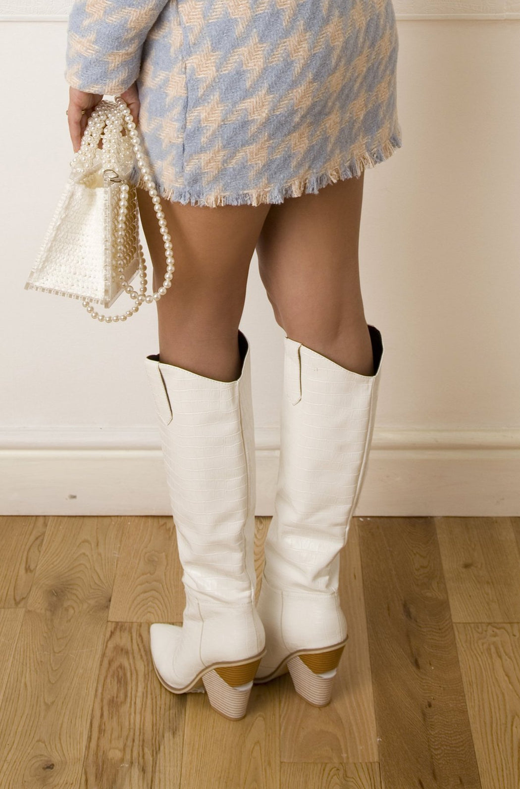 White Western Knee High Boots - Lavand Stories