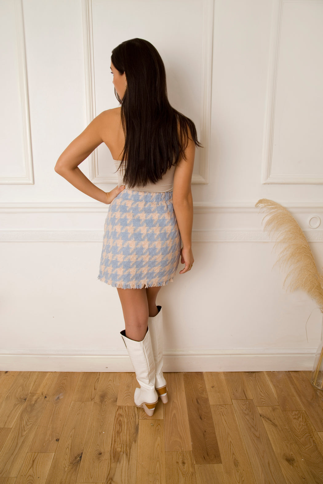 Cher Houndstooth Blue Skirt - Lavand Stories