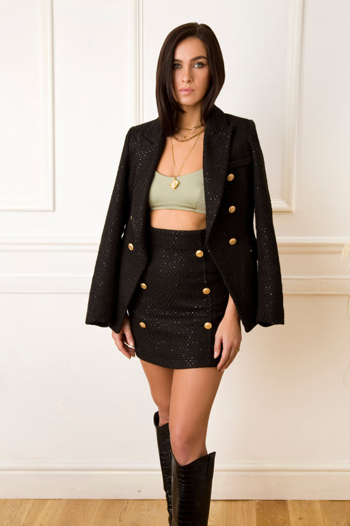 Carry Tweed Black Sequin Jacket
