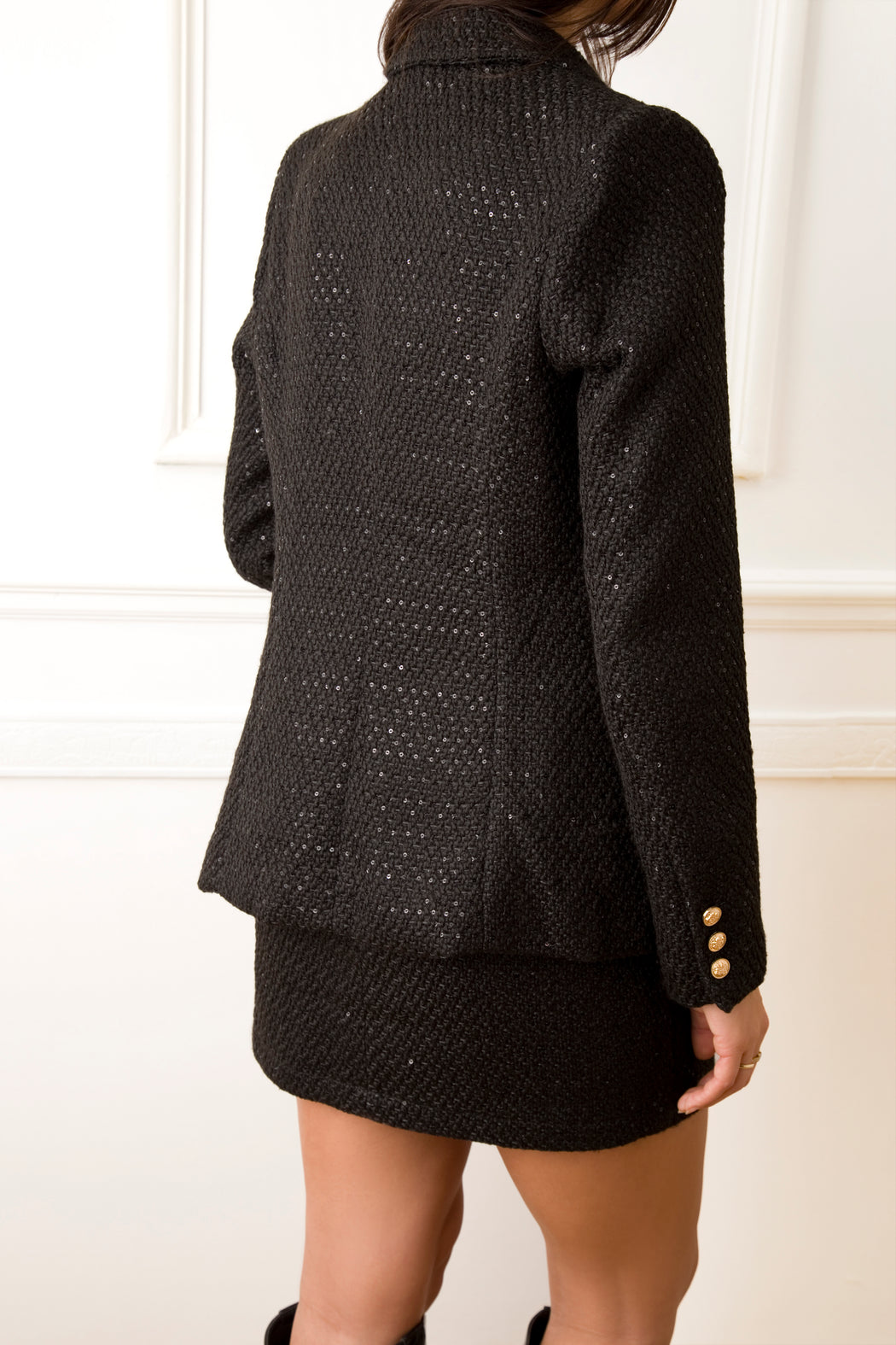 Carry Tweed Black Sequin Jacket - Lavand Stories