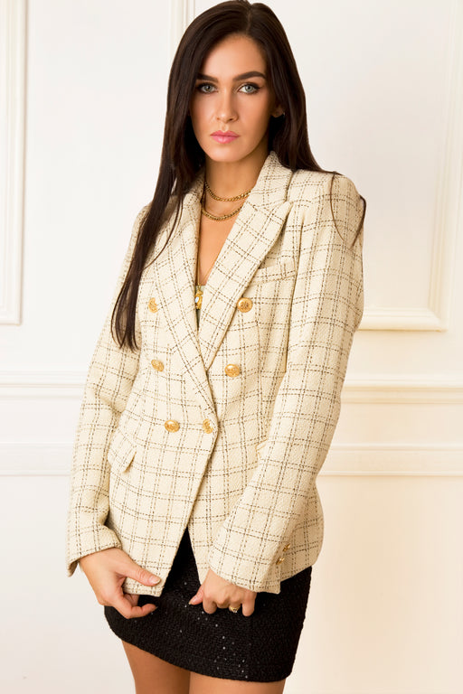 Carry Tweed Cream Striped Jacket