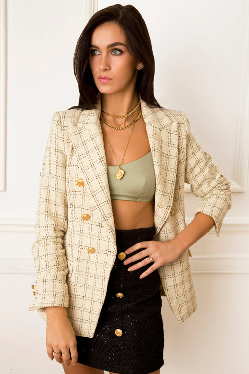 Carry Tweed Cream Striped Jacket - Lavand Stories