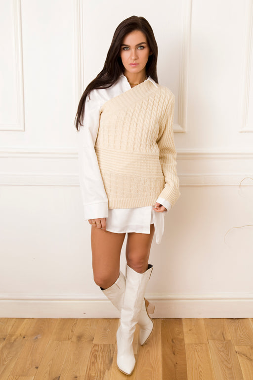 Lexi One Shoulder Cable Knit Jumper
