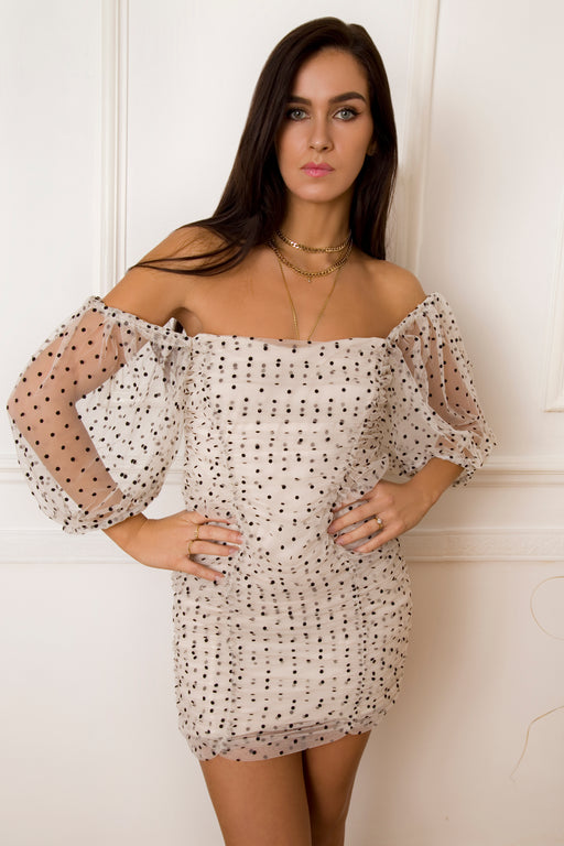 Zola Polka Dot Puff Sleeve Dress