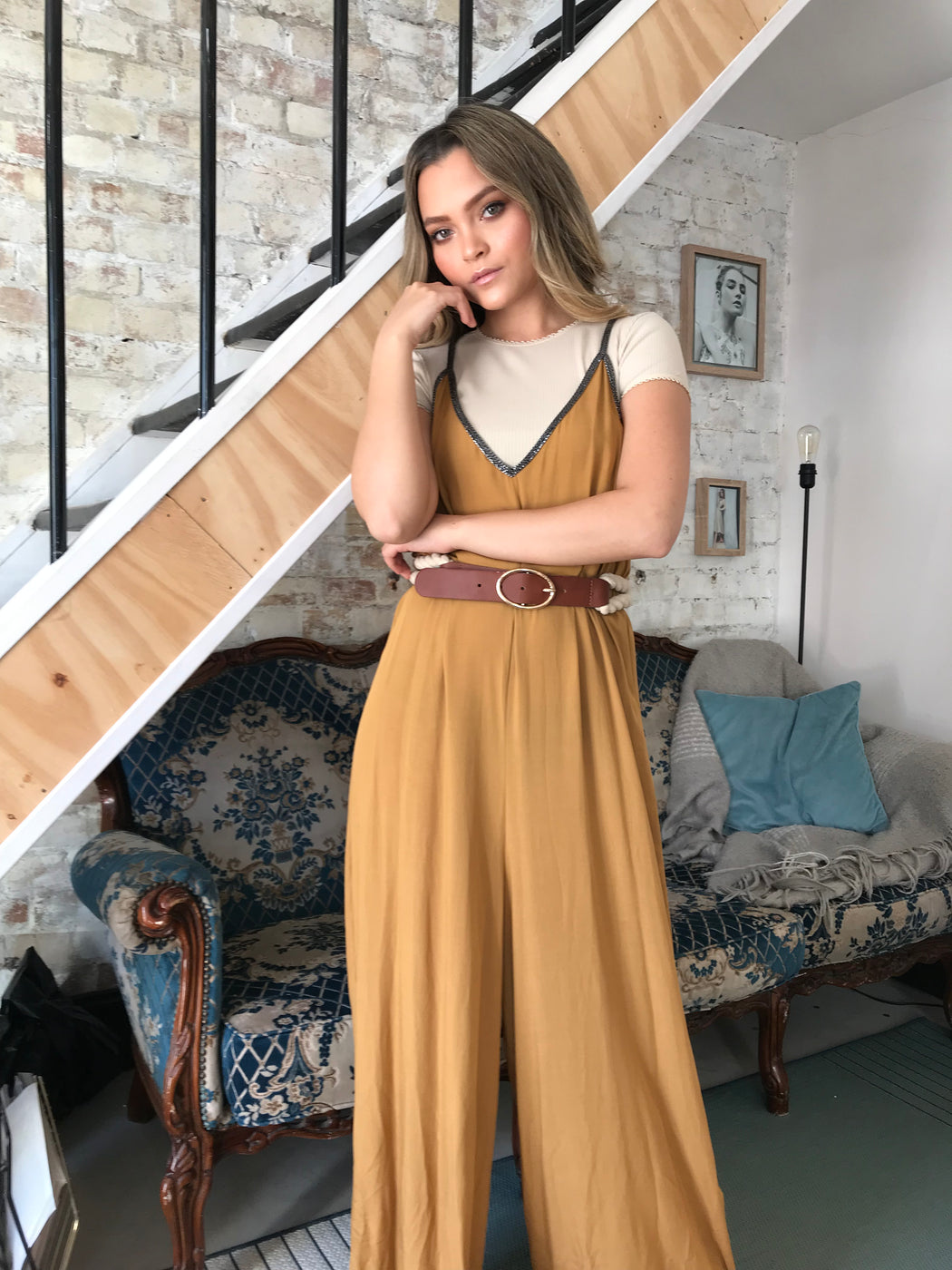 Ayla Wide Leg Mustard Jumpsuit - Lavand Stories