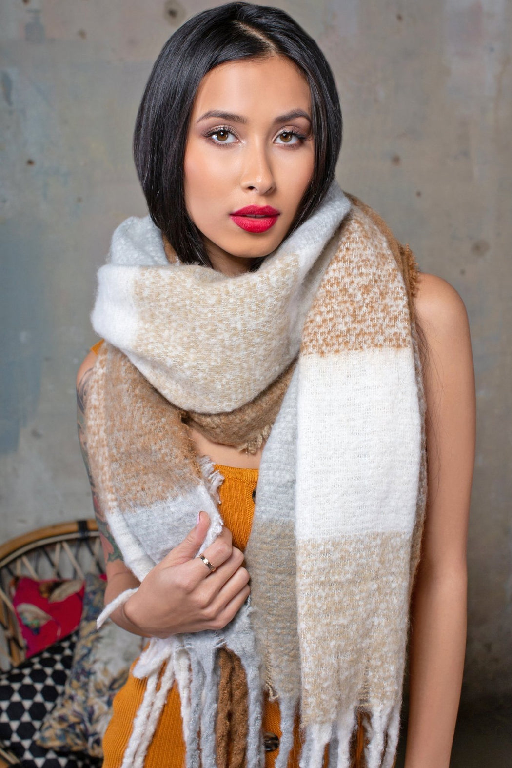 Striped Chunky Scarf - Lavand Stories