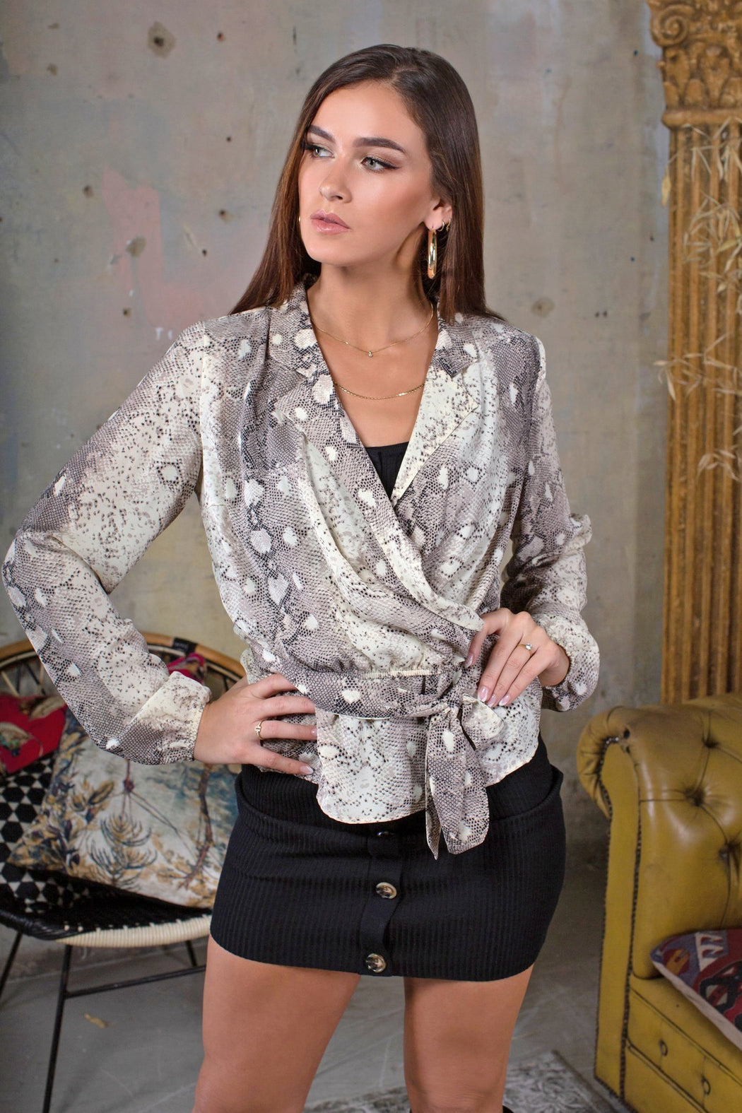 Snake Print Wrap Blouse - Lavand Stories