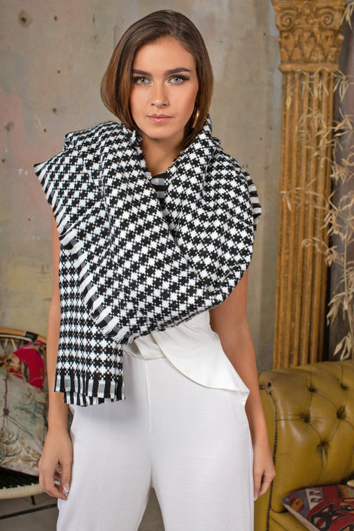 Dogtooth Black and White Scarf - Lavand Stories