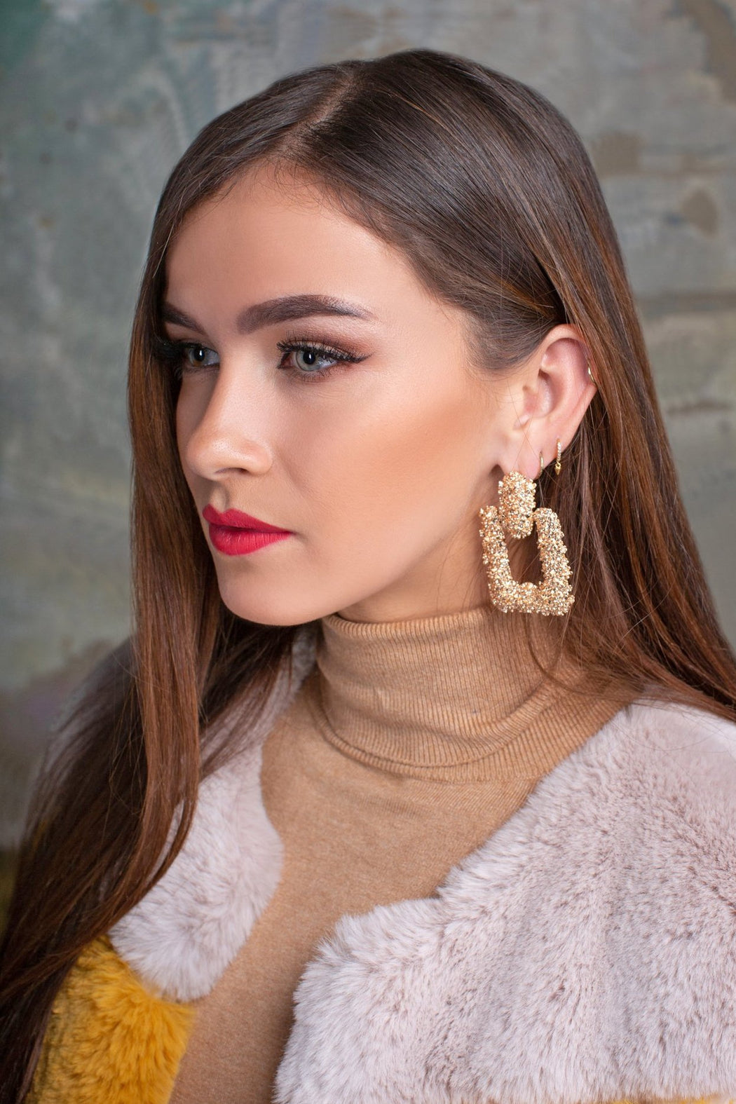 Eva Square Gold Textured Drop Earrings - Lavand Stories
