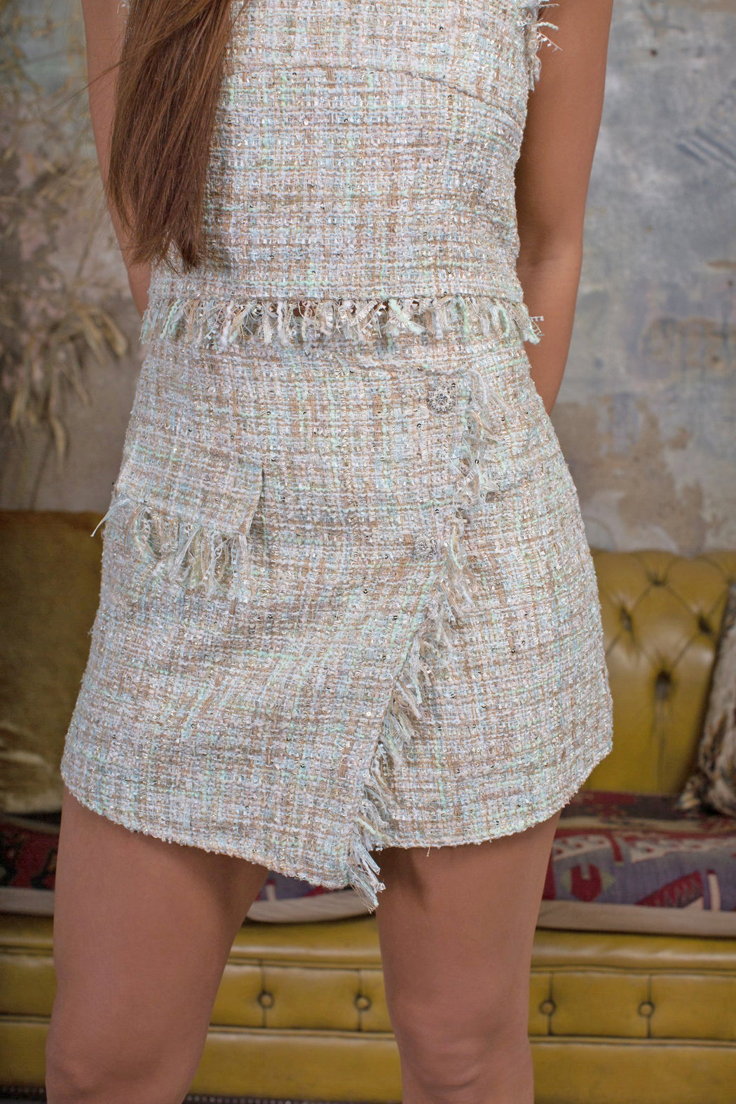 Pia Tweed Metallic Mini Skirt - Lavand Stories