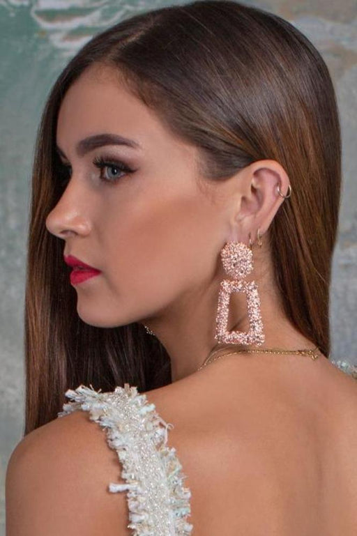 Tily Rose Gold Textured Drop Earrings