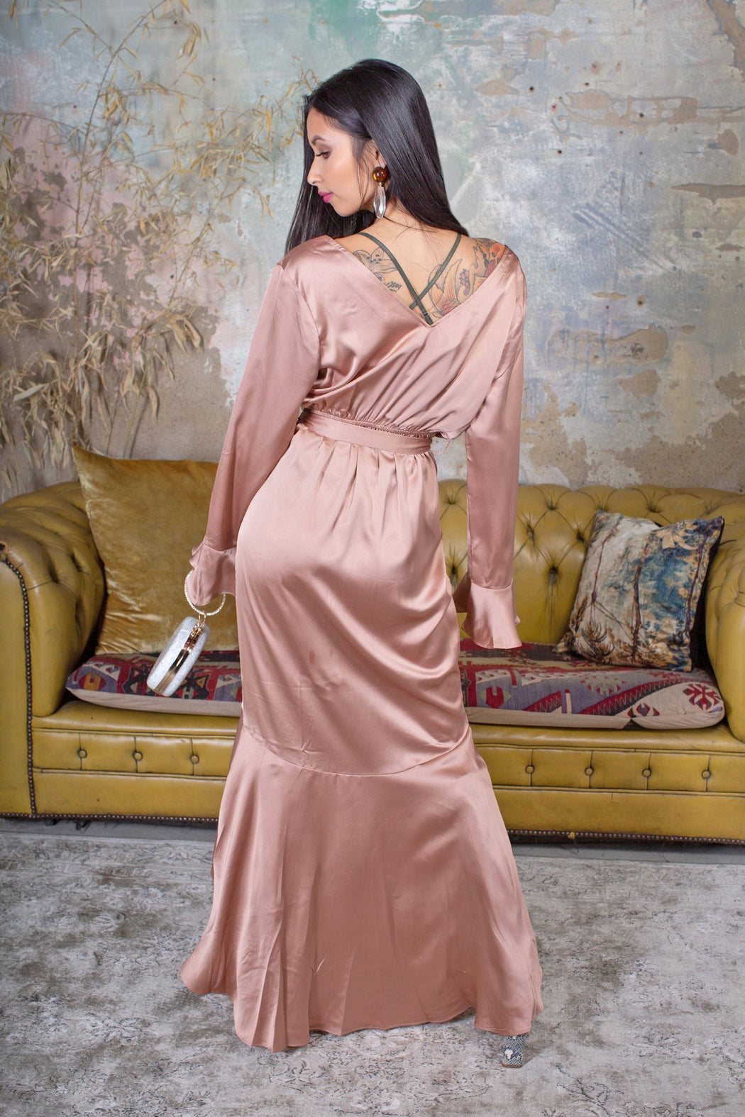 Rosa Silky Ruffle Maxi Dress