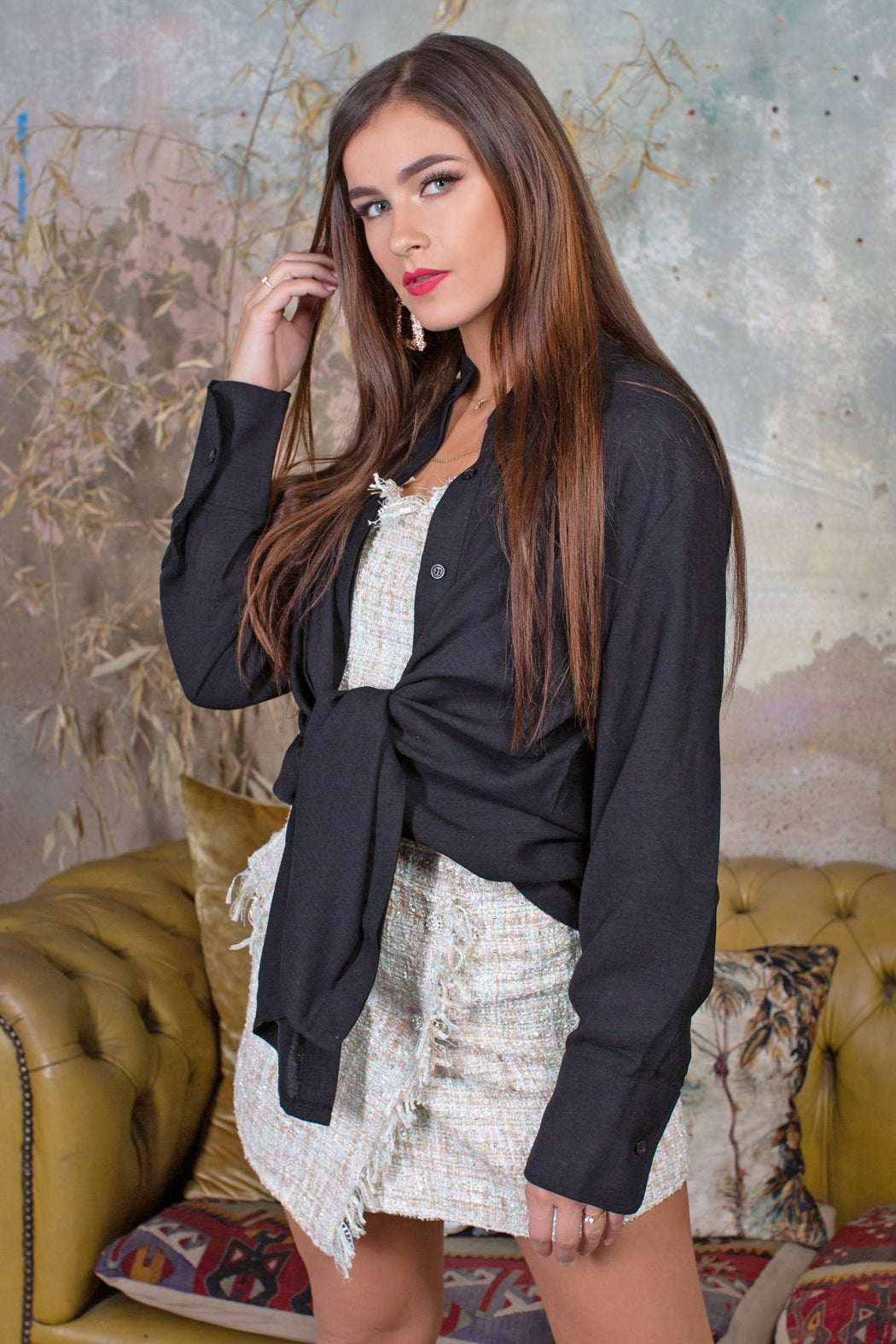 Sasha Black Multi Wrap Shirt - Lavand Stories