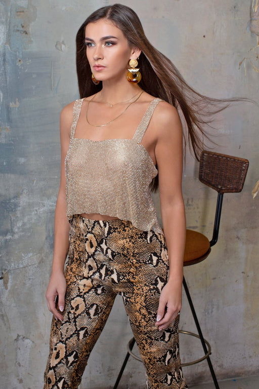 Pearla Gold Chainmail Square Neck Crop Top - Lavand Stories