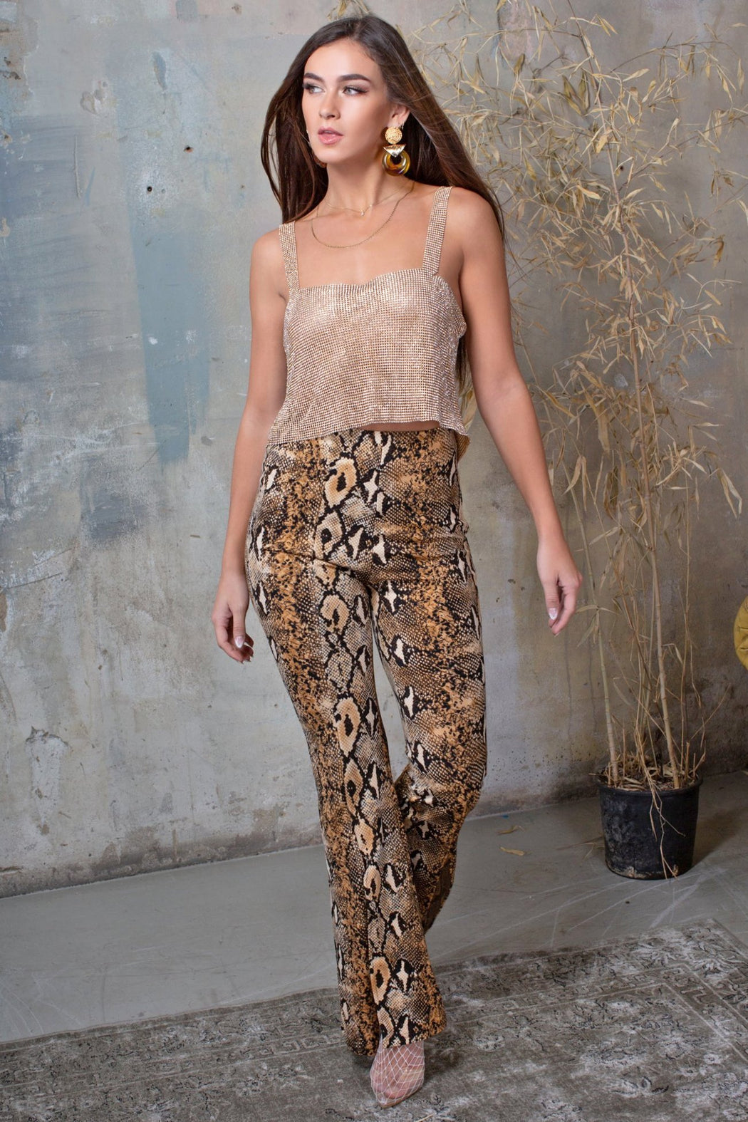 Snake Print High Waisted Trousers - Lavand Stories
