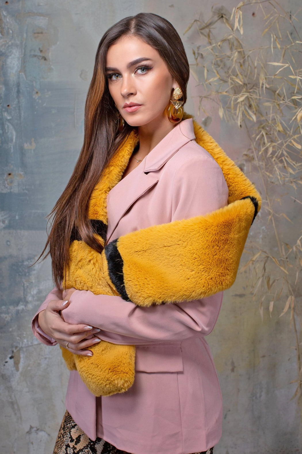 Tammy Mustard Faux Fur Scarf Collar - Lavand Stories