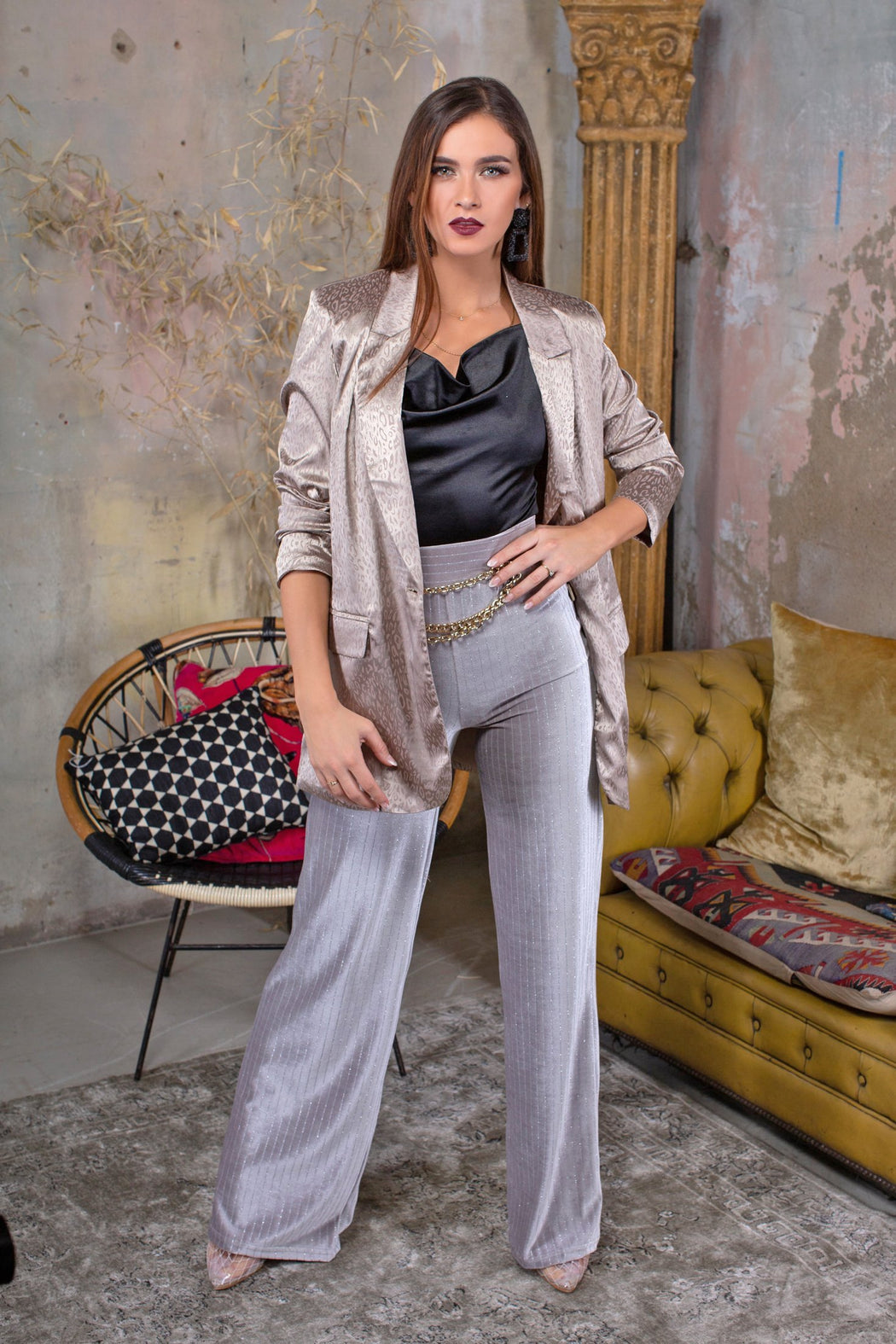 Katerina Silver High Waisted Trousers