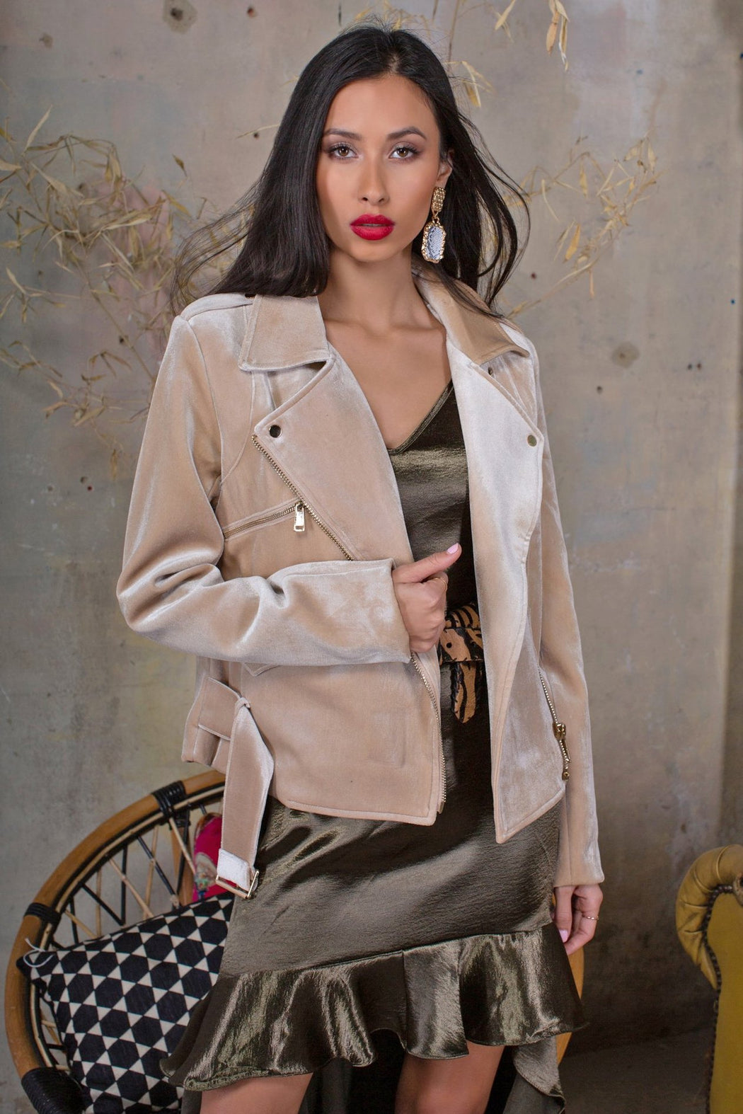 Audrey Gold Velvet Biker Jacket - Lavand Stories