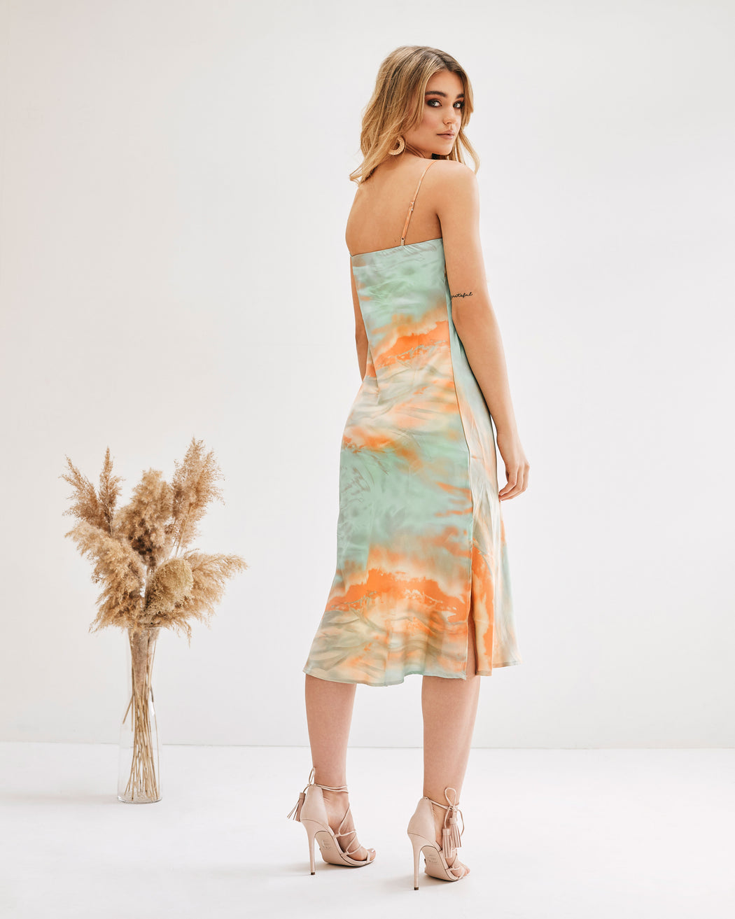 Sylvia Tie Dye Cowl Neck Slip Dress - Lavand Stories