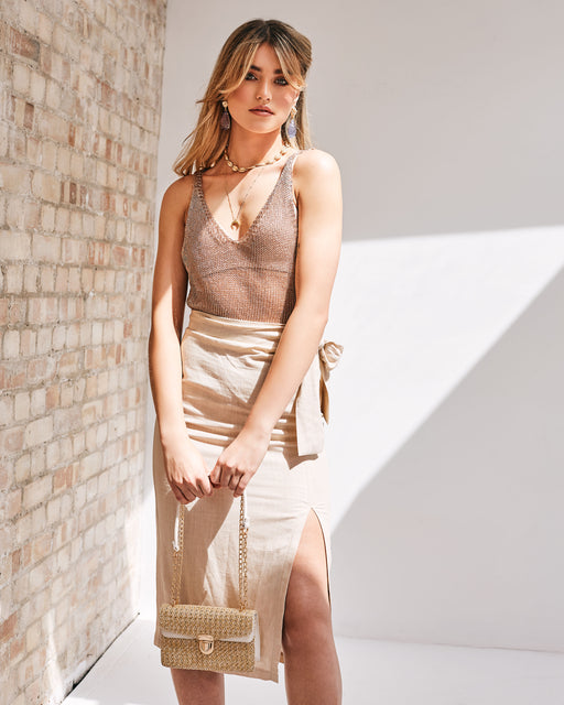 Mesh Knit Metallic Tank Top