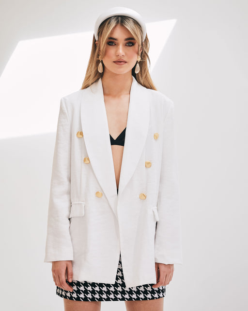 Grace Gold Button White Blazer