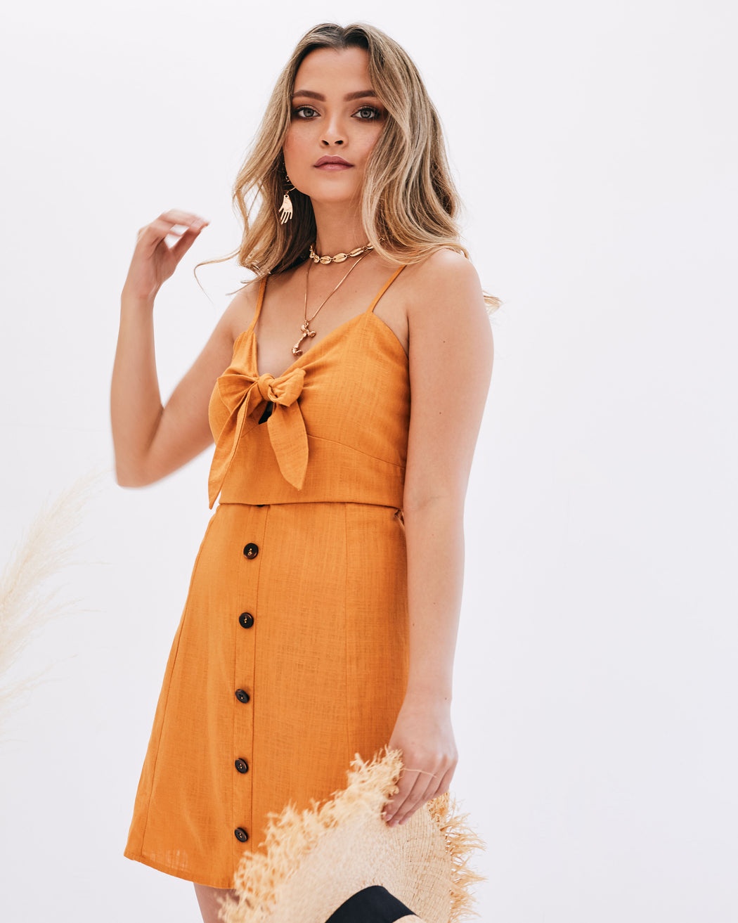 aline sundress with font tie orange dress summer holiday outfits linen dress button down Dress casual dress