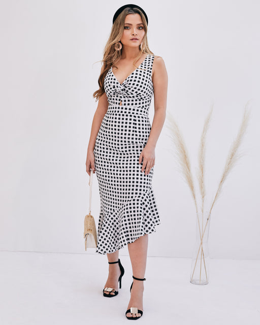 Elise Checked Midi Ruffle Dress