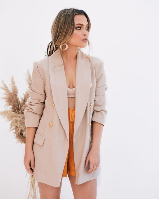 Grace Gold Button Beige Blazer - Lavand Stories