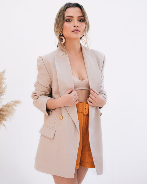 Grace Gold Button Beige Blazer