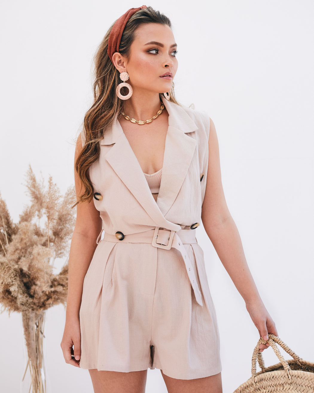 Nomi Beige Safari Belted Playsuit - Lavand Stories