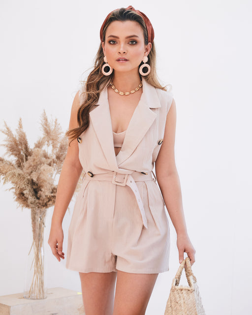 Nomi Beige Safari Belted Playsuit