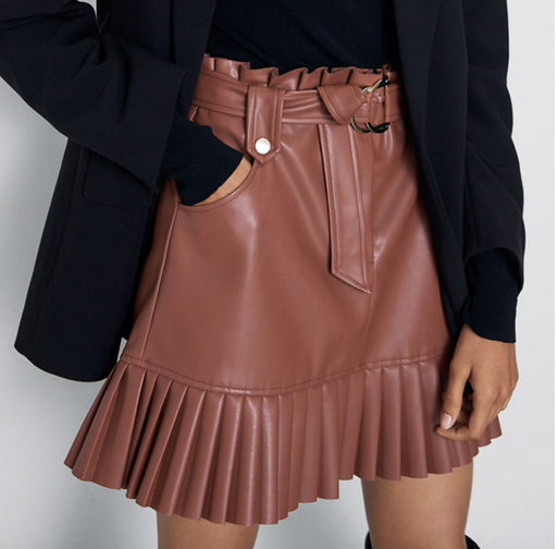 Livia Pleated Faux Leather Skirt - Lavand Stories