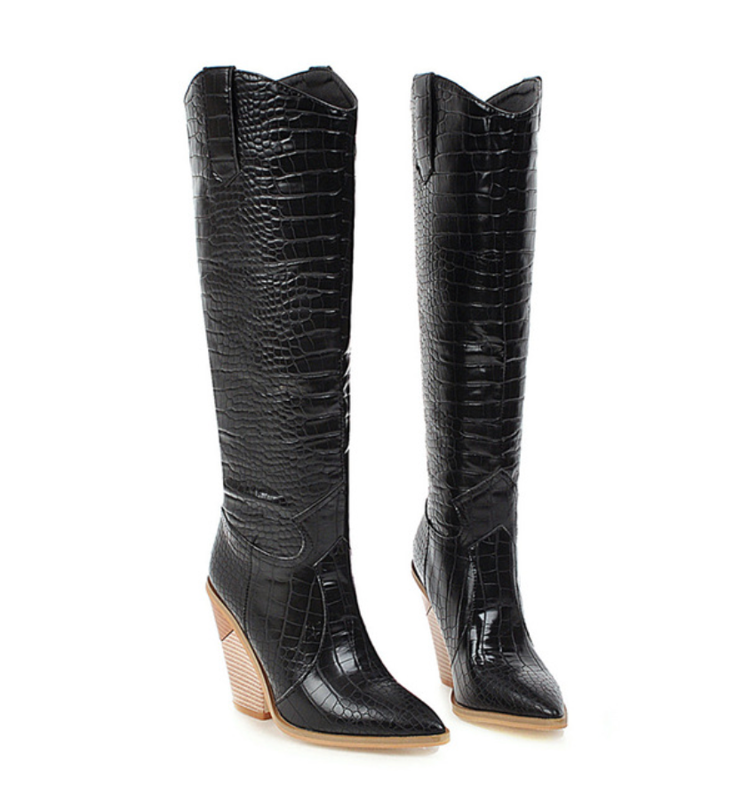 Black Western Knee High Boots - Lavand Stories