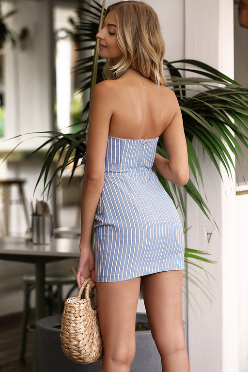 Capri Blue Striped Mini Dress