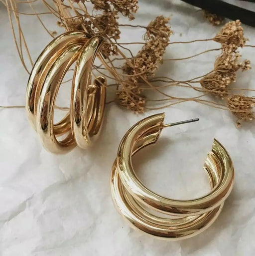 Gold Triple Hoop Earrings - Lavand Stories
