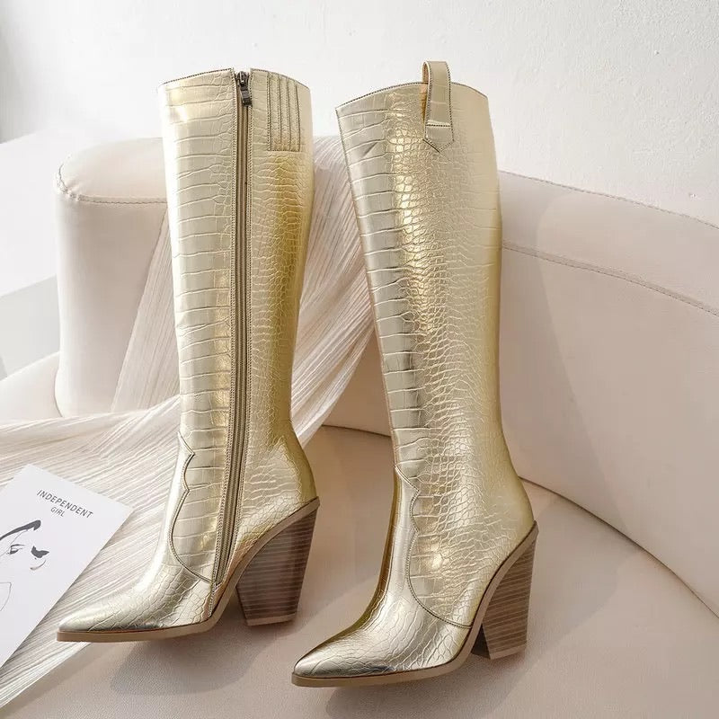 Gold Western Knee High Boots - Lavand Stories