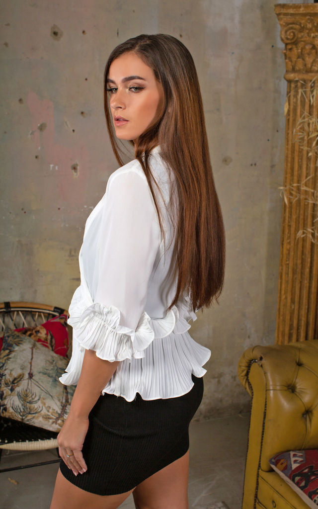 Nora White Ruffle Blouse - Lavand Stories