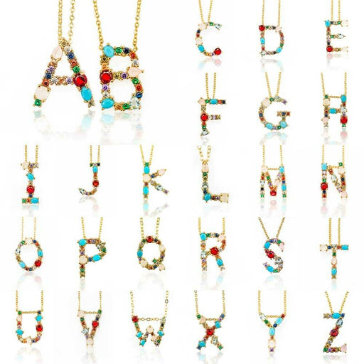 Multicolour Initial Necklace - Lavand Stories