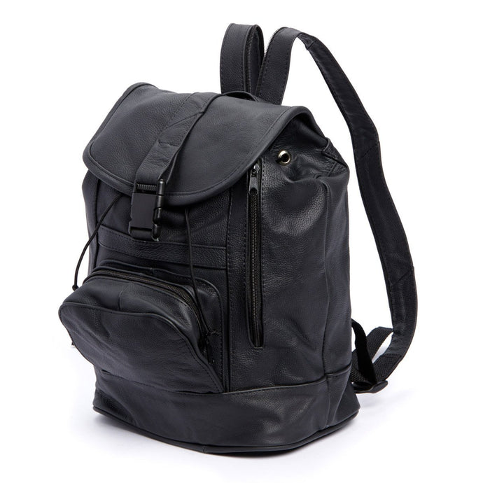 Genuine Leather Backpack with Convertible Strap Super Soft Black Color - WholesaleLeatherSupplier.com  - 1