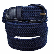 Load image into Gallery viewer, Unisex Braided Elastic Woven Stretch Belt with Genuine Leather Buckle - WholesaleLeatherSupplier.com