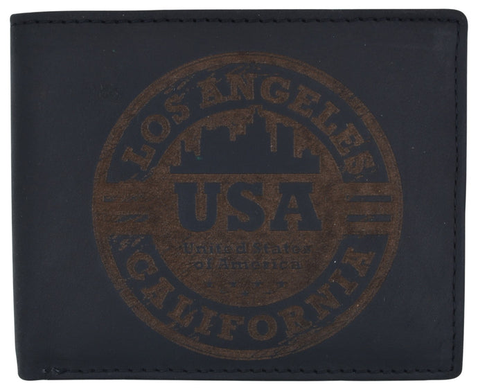 AFONiE Men's Rustic Los Angeles Stamped Wallet w/ RFID Technology