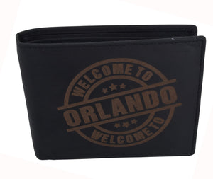 AFONiE Men's Welcome to Orlando Stamped Wallet w/ RFID Protection