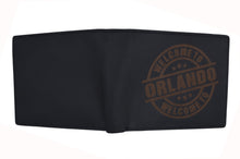 Load image into Gallery viewer, AFONiE Men's Welcome to Orlando Stamped Wallet w/ RFID Protection