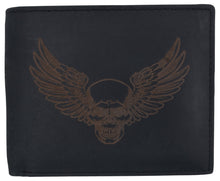 Load image into Gallery viewer, AFONiE Men's Rustic Winged Skull Wallet w/ RFID Technology