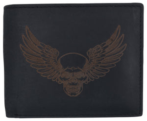 AFONiE Men's Rustic Winged Skull Wallet w/ RFID Technology